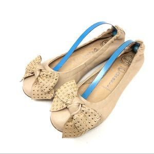 NEW Jeffrey Campbell Ballet Flats Bow Toe Tan 7.5